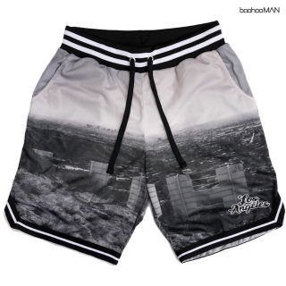 【送料無料】BOOHOO MAN LA VARSITY SHORTS【GRAY】
