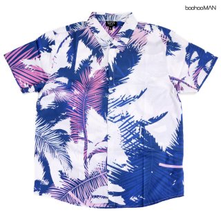【送料無料】BOOHOO MAN PALM OPEN SHIRTS【WHITE×BLUE】