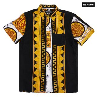 【送料無料】REASON CLOTHING MARBLE & GOLD OPNE SHIRT【BLACK×GOLD】