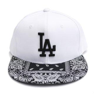 【送料無料】LA BANDANA CUSTOM SNAPBACK CAP【WHITE×BLACK】