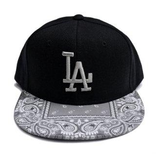 【送料無料】LA BANDANA CUSTOM SNAPBACK CAP【BLACK×GRAY】