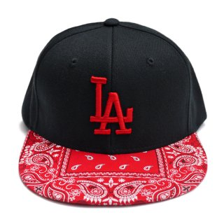 【送料無料】LA BANDANA CUSTOM SNAPBACK CAP【BLACK×RED】