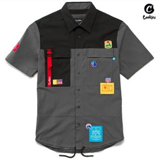 【送料無料】COOKIES SF COLORES BUTTON SHIRTS【BLACK】