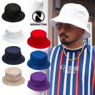 【メール便対応】NEWHATTAN BUCKET HAT【BLACK/WHITE/NAVY/KHAKI/RED/ROYAL BLUE/PURPLE】