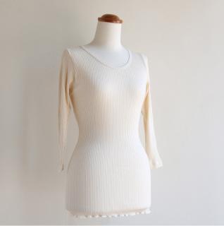 婦人 スーピマリブ 8分袖シャツ