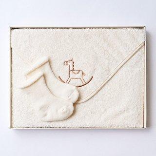 ベビー ギフトセット 木馬刺繍 (おくるみ 靴下・ギフトボックス入り)