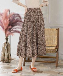 楊柳シフォン小花柄スカート