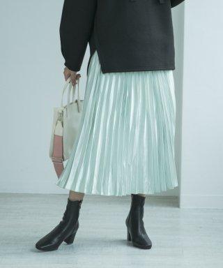 サテンプリーツフレアスカート