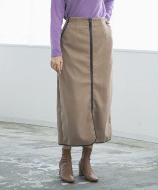 フロントジップパイピングスカート