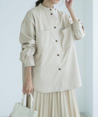 エコレザーノーカラーシャツジャケット