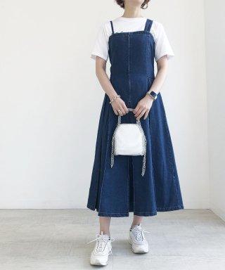 【anticrag】アシメプリーツデニムジャンパースカート