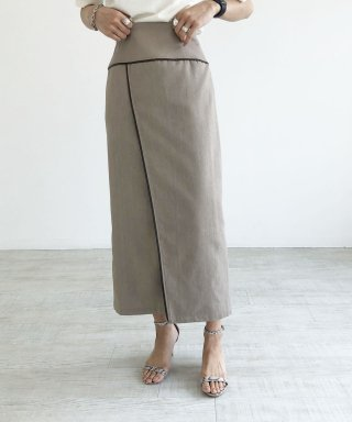【anticrag】リネンライクパイピングスカート