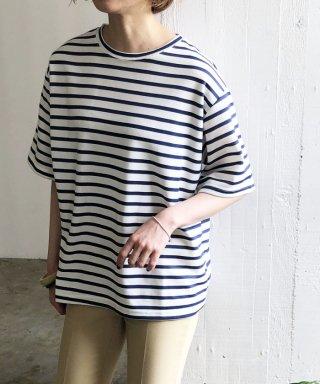 オーバーサイズクルーネックボーダーTシャツ