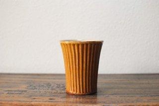 【湯町窯】フリーカップ 大 しのぎ 黄釉