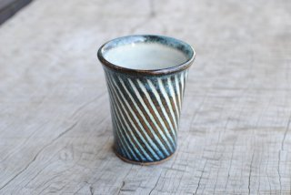 【湯町窯】フリーカップ 小 ななめしのぎ 海鼠釉