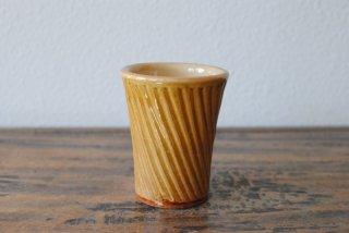 【湯町窯】フリーカップ 小 ななめしのぎ 黄釉