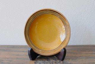 【湯町窯】縁有り5寸皿 黄釉 スリップ