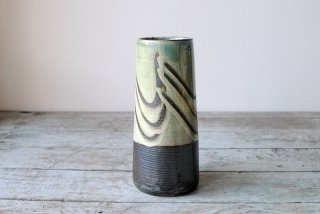 【小鹿田焼・坂本浩二窯】5寸筒花瓶 うす青 指描き