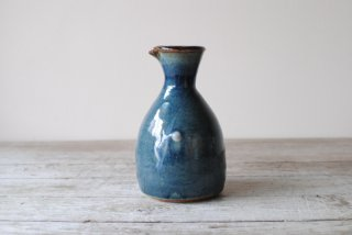 【森山窯】3合徳利 瑠璃釉 筒描きA