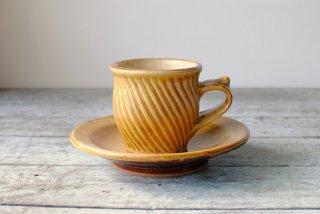 【湯町窯】コーヒー碗皿 黄釉 斜めしのぎa