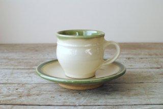 【出西窯】コーヒー碗皿(リーチ型)白 ふち緑