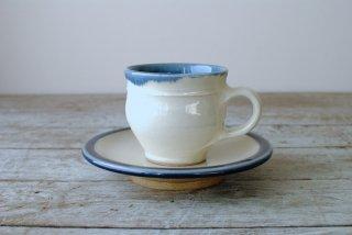 【出西窯】コーヒー碗皿(リーチ型)白 ふち呉須