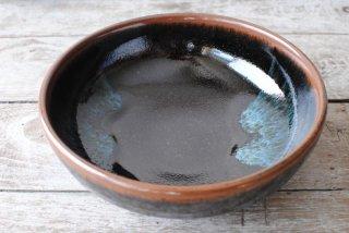 【楢岡焼】煮物鉢 黒 青流し