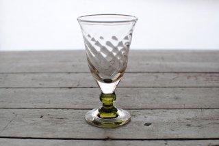 【星耕硝子】三角ワイングラス 珠足 緑