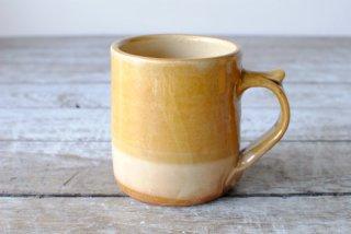 【湯町窯】ミルク呑(マグカップ)黄釉 白掛け分け