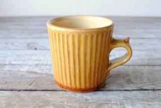 【湯町窯】切立カップ(マグカップ)黄釉 鎬
