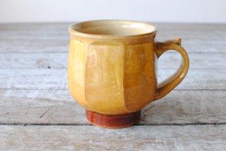 【湯町窯】モーニングカップ(マグカップ)黄釉 面取り