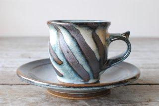 【湯町窯】コーヒー碗皿 海鼠釉 指描き