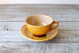 【湯町窯】スープ碗皿 黄釉
