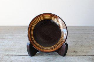 【湯町窯】4寸皿 黒 スリップ