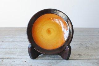 【湯町窯】4.5寸皿 ふち有 黄釉 ふち抜き