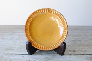 【湯町窯】4.5寸皿 ふち有 黄釉 ふち鎬