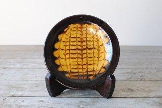 【湯町窯】4.5寸皿 黒 スリップ