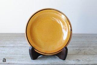 【湯町窯】5寸皿 ふち有 黄釉 黒線巻き