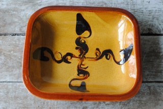 【湯町窯】角皿 6号 黄釉 スリップ