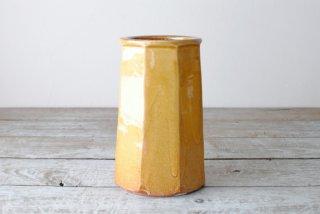 【湯町窯】花瓶 黄釉 面取り