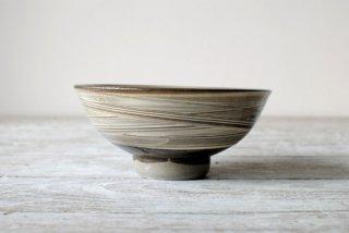 【小鹿田焼・黒木昌伸窯】4寸飯碗 白 わら引き