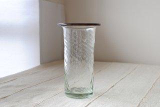 【ニジノハ】平口筒花瓶 中 白 口巻き紫