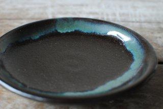 【龍門司焼】4寸皿 黒 青流し