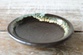 【龍門司焼】3寸皿 黒 白流し