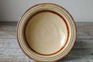 【龍門司焼】5寸リム皿 白 線彫 飴流し