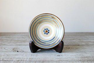 【やちむん・糸満】4寸皿 コマ紋 藍・飴