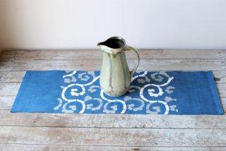 【山内武志】藍 型染め木綿卓布 細巾