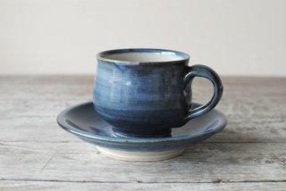 【いろは窯】丸コーヒー碗皿 呉須