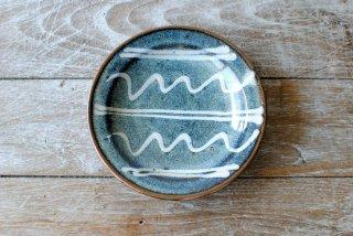 【湯町窯】ふち付き皿 大 海鼠釉 スリップ
