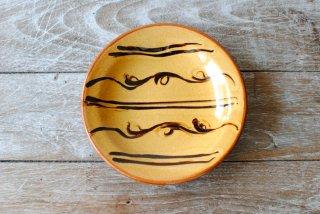 【湯町窯】ふち付き皿 大 黄釉 スリップA